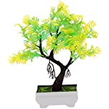 Random Y Shaped Artificial Bonsai Tree With Yellow And Green Leaves