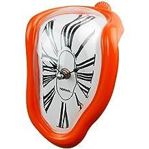 Jedfild Personalità creativa orologio pensile soggiorno studio orologio da parete bell orologio orologio orologio al quarzo Orologio tranquilla orologio da tavolo, 8 pollici (20 cm di diametro), Roma orange