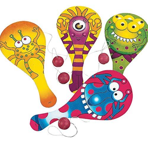 Elfen und Zwerge - Paddleball - Monster Spiel - Mitgebsel für Kindergeburtstag - Geschicklichkeitsspiel - 6 Stück (Halloween-spiele Der Für In Kinder-party Schule)