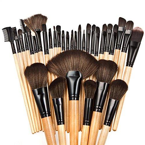 RY@ Maquillage Blush Set, Professional 32 pièces Manche en bois naturel Rose / marron Make Up Set de brosse avec étui , A