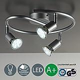 B.K.Licht, Plafoniera moderna con faretti LED da soffitto orientabili, 3 luci bianche e corpo in metallo, lampadine da 3W, 230V, GU10, IP20, Titanio