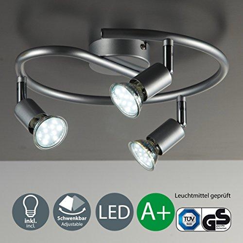 LED Deckenleuchte I Wohnzimmerlampe I Deckenlampe I 3 flammige LED Spirale I mit schwenkbaren Deckenstrahlern I drehbare Licht-Spots aus Metall I Farbe: titan I GU10 Lampenfassung inkl. 3 x 3 W Leuchtmittel I 230 V I IP20