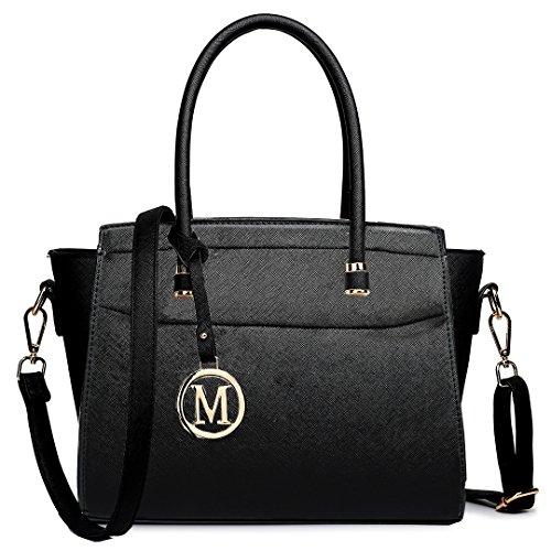 miss-lulu-damen-schultertasche-m-schwarz-schwarz-grosse-m