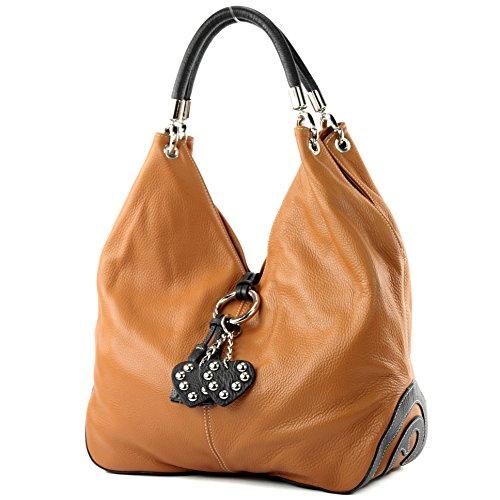 modamoda de - ital. Ledertasche Handtasche Shopper Damentasche Schultertasche Leder 330 Camel/Dunkelbraun