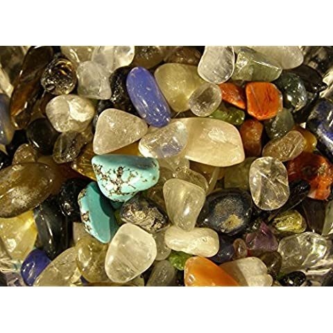 500g Mixed Small (3mm - 10mm) Tumbled and Polished Tumblestones Tumble Stones Crystals Gemstones (Including Some or all of Quartz (Clear, Rose, Citrine, Smoky, Rutliated, Golden), Lapis Lazuli, Garnet, Turquoise, Multicoloured Agate, Amethyst, Jasper, Labradorite, Tiger's Eye, Epidote, Fluorite, Opal, Amazonite, Rhodonite, Tourmaline, Jade, Malachite and Aventurine) Reiki Healing by Unknown
