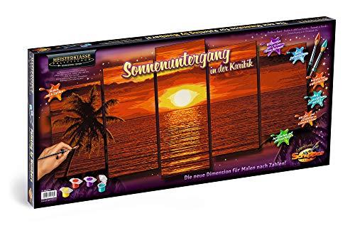 09450728-Malen nach Zahlen, Sonnenuntergang in der Karibik, Polyptychon 132 x 72 cm, bunt ()
