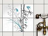 Fliesendekor Klebefolie | Fliesen-Sticker Aufkleber Folie selbstklebend Bad renovieren Küche Wanddekoration | 15x20 cm Design Motiv Bamboo 1 - 6 Stück
