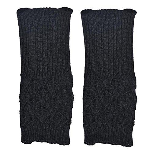 TWIFER Damen Aushöhlen Blätter Gestrickte Arm Pulswärmer Handwärmer Fingerlose Armstulpen (Freie Größe, Schwarz) -