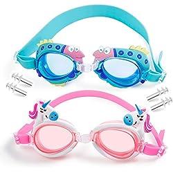 MOOKLIN ROAM Gafas de Natación Infantil, 2pcs Antiniebla Gafas para Nadar Antigoteo Protección UV sin Fugas incluir Enchufe de oído y Clip de Nariz Ajustable para Niñas, Niños, Juventud Edad 3 - 13
