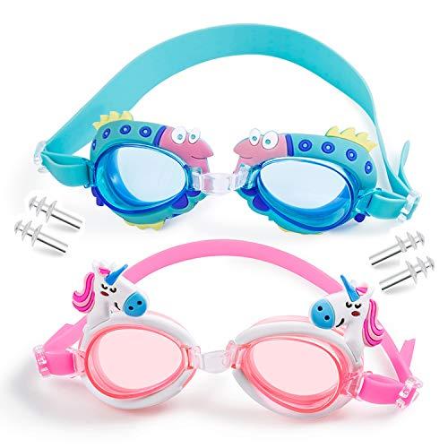 MOOKLIN Occhialini da Nuoto per Bambini, 2 Pezzi Anti-Appannamento Occhiali da Piscina Agonistico con Protezione UV Impermeabile e Tappi per Orecchie, Confortevole Regolare per Bambini, Adolescenti