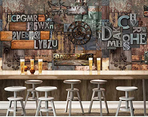 SKTYEE Home Bar Decor Tapeten Vintage 3D Brief Fototapete Wandbild Wohnzimmer Schlafzimmer Behang/Seidentapete @ 250x175_cm_ (98.4_by_68.9_in_)