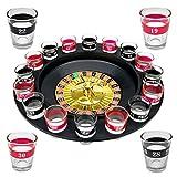 WELLGRO® Trinkspiel Roulette - mit 1 Roulette-Rad, 16 Schnapsgläser und 2 Spielkugeln - Party-Spaß, bei dem der Zufall entscheidet -