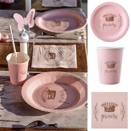en Hochzeiten Party-Set Princesse, 56 Teile Dekoset Geburtstag Prinzessin Set Partygeschirr Pappteller Pappbecher Servietten ()