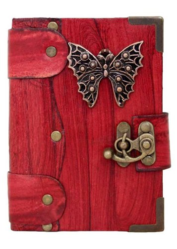 handmade-butterfly-pendant-on-a-red-leather-journal-with-lock-sketchbook-leatherbound-notebook-pocke