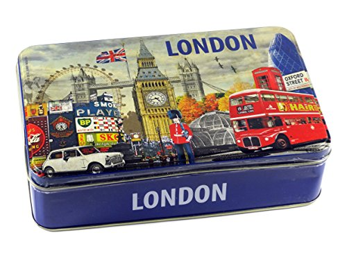 150g of Chocolate Coated Wafers in London Collage Design Tin