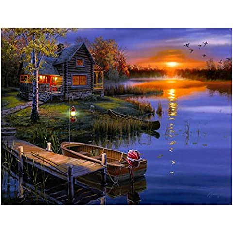 New 5D DIY Handmade Lakeside Cabin Design Round Diamond Embroidery Painting Rhinestone Cross-Stitching Set Mosaic Home Room Decoration Best Gift 40 * 50 cm / 15.75 * 19.69 in