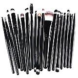 West See 20 Stück Weiche Kosmetik Pinsel-Set Make Up Bürsten Lidschatten Gesichtspinsel Eyeliner Makeup Set (Schwarz 2)