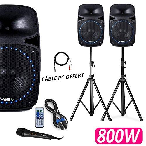 """Pack Sono DJ PA 800W 2 Enceintes Actives/Passives LEDs 12"""" FM/USB/SD/BLUETOOTH + Pieds + Micro + Tél"""