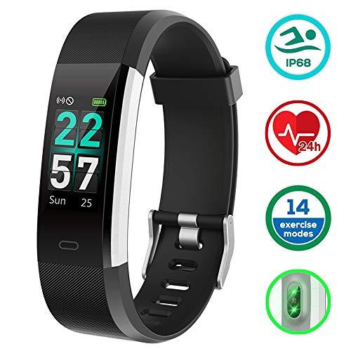 KUNGIX Fitness Armband, IP68 Fitness Tracker mit 0,96 Zoll Farbbildschirm Aktivitätstracker Uhr Wasserdicht Smartwatch Damen 14 Trainingsmodi Smart Watch Pulsmesser Schrittzähler Uhr Herren(Schwarz)