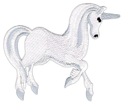 Weißes Einhorn Pferd Aufnäher Bügelbild Größe 10,4 x 8,6 cm