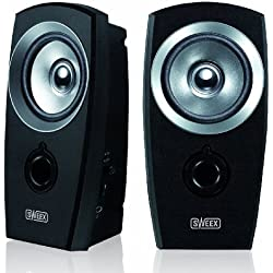 Sweex SP040 2.0 Lautsprecher (3,5mm Klinkenstecker, USB) schwarz/silber