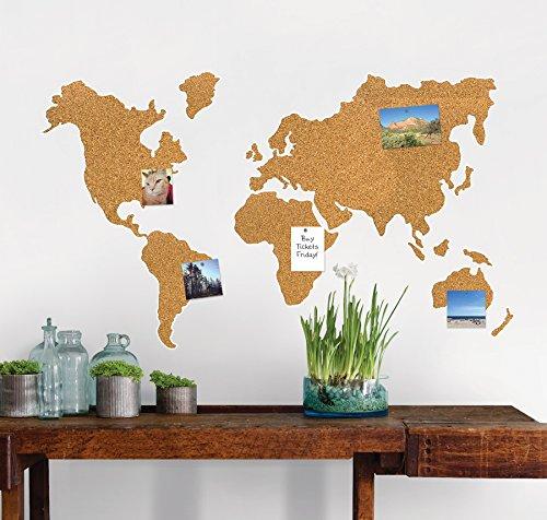 mapa de mundo de corcho para la pared