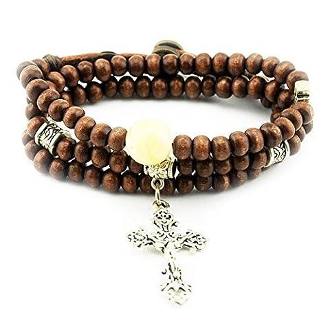 Christian religieuse inspirée en métal Pendentif Croix Bois Perle Bouton Bracelet