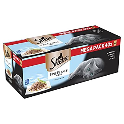 Sheba Fine Flakes Fish Collection in Jelly Cat Food Pouches, 40 x 85 g