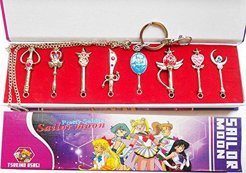 Sailor Moon Transformations Stab Set Cosplay Kostüm Zubehör als Ketten- oder Schlüsselanhänger (Kinder Sailor Für Moon-kostüme)