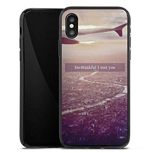 Apple iPhone X Silikon Hülle Case Schutzhülle Flugzeug Urlaub Fliegen Silikon Case schwarz