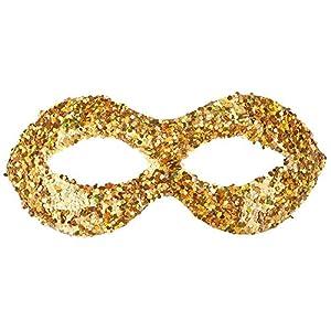 Carnival 00819-Máscara con lentejuelas, plástico, de sobre con puente, dorado
