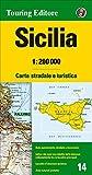 Sizilien Strassenkarte, Karte, Landkarte, TCI (Touring Club Italiano) Blatt 14, Sicilia / Sizilien, Palermo, Catania, Messina, Trapani