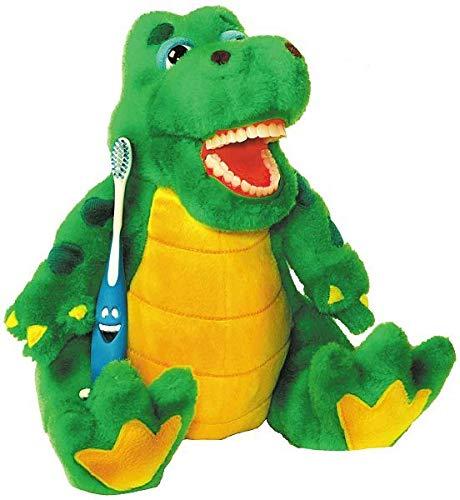 Zahnkönige | Plüschtier Handpuppe Puppe Alligator Krokodil | inkl. 1 Zahnbürste | ca. 20-30cm | Zahnarzt Kinder Deko