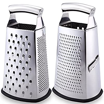 Latest Box Grater - Lifetime Replacement Warranty – Rated No.1 Stainless Steel Food Grater for Hard & Soft Cheese, Vegetables, Ginger, Zesting Lemon, Orange, Nuts – Time Saving Tool For Everyday Cooks from Chef Remi