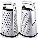 Latest Box Grater - Rated No.1 Stainless Steel Food Grater for Hard & Soft Cheese, Vegetables, Ginger, Zesting Lemon, Orange, Nuts – Time Saving Tool For Everyday Cooks