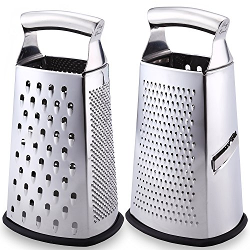 Latest Box Grater - Lifetime Replacement Warranty – Rated No.1 Stainless Steel Food Grater for Hard & Soft Cheese, Vegetables, Ginger, Zesting Lemon, Orange, Nuts – Time Saving Tool For Everyday Cooks