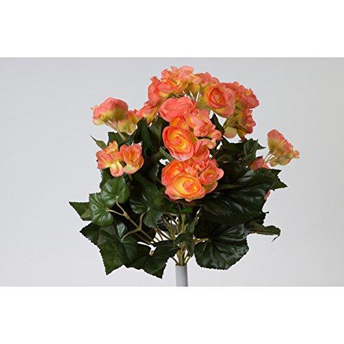 artplants - Künstliche Begonie Ivana, 74 Blätter, 16 Blüten, lachs, 40 cm, Ø 30 cm - Deko Schiefblatt Pflanze/Kunstblumen
