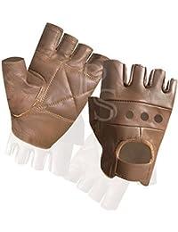 Prime Leather - Mitaine Gant Sans Doigt Cuir Marron Qualité Souple Musculation Cyclisme Fauteuil Roulant Sport M etc.