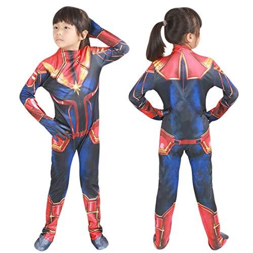 Captain Marvel Kostüm Bodysuit Jumpsuits Damen Kinder Weihnachten Halloween Karneval Cosplay Kostüm Einteiler Overall/S