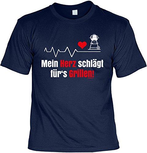 Motiv/Grill/Spaß-Shirt/Fun-Shirt/Rubrik lustige Sprüche: Mein Herz schlägt fürs Grillen - geniales Geschenk Navyblau