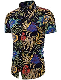 Cinnamou Camisa Hombre, Camisetas Casuales de Estampada Flore de Tallas Grandes Verano Camiseta de Manga