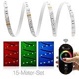 15 Meter RGB LED Streifen Set (30 LED/m, IP20) inkl. Controller, Funkfernbedienung und 10 A Netzteil