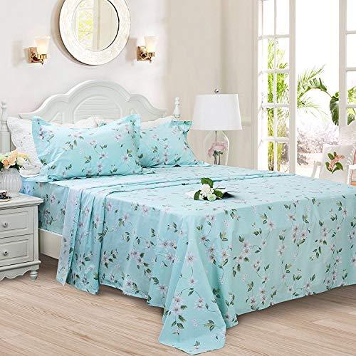 FADFAY Bettwäsche-Set mit Blumenmuster, 100% Baumwolle, Tiefe Taschen, 4-teilig Twin XL Green/White Floral (Florale Bettwäsche Twin Xl)