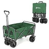 Sekey Foldable Cart Folding Wagon Outdoor Wheelbarrow Beach Cart All Terrain Utility Wagon Outdoor Garden Trailer Transport Trolley, green
