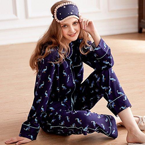 Le donne cadono in pigiami di cardigan di cotone Pantaloni a maniche lunghe Set di abbigliamento sexy in casa ( Colore : Blu , dimensioni : L. ) Blu