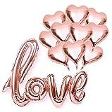 iZoeL Hochzeit Ballons inkl 10 Herz Folienballon + Love Folienballon Girlande in Rose Gold für Hochzeit Geburtstag Heiratsantrag Jahrestag Valentinstag