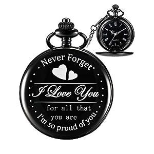 Taschenuhr Geschenk für Sohn Tochter Mom Dad Opa Oma Ehemann, Graviert Taschenuhr – I Love You for All That You Are I Am so Proud of You