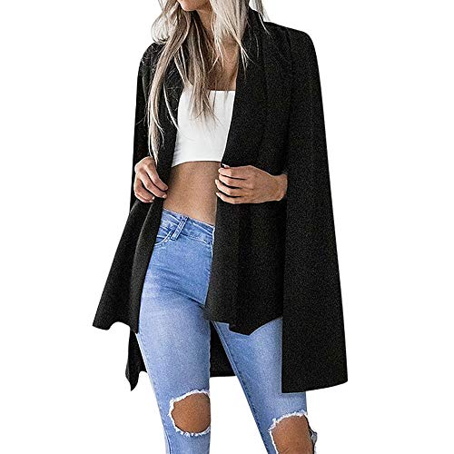 Kostüm Mantel Herren Duster - Vovotrade Damen lang Blazer elegant Frauen Blazer Jacke Damen Langarm Solid Color Stilvolle Duster Blazer Jacke Mantel