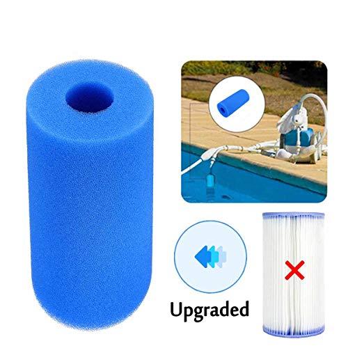 Filterschwamm,Filterpatrone,Intex Typ A-Patronenschwamm,Wiederverwendbarer/waschbarer Schwimmbadfilter,Wiederverwendbarer Filterreinigung für Schwimmbeckenschwämme,Waschbarer Filterreiniger (Blue)