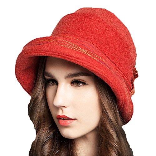 Maitose™ Frauen Dekorative Bow Wool Bucket Hat (Hat Lady Kostüm Red)